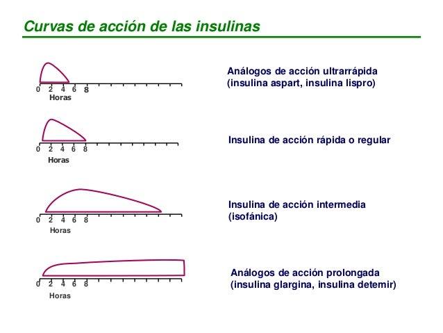 Aspart, Lispro Regular NPH Glargina, Detemir Insulina retardada Curvas de acción de las insulinas