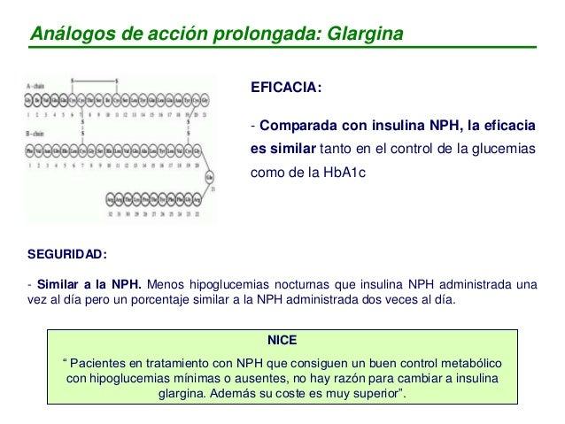 EFICACIA: - Comparada con insulina NPH, consigue un control glucémico similar (nivel de HBA1c), con menos hipoglucemias, s...