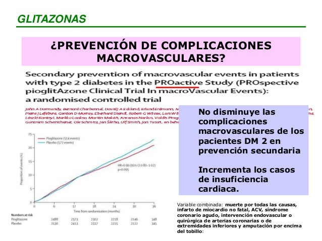 La rosiglitazona en pacientes con alto riesgo de desarrollar DM 2 disminuye la incidencia de diabetes, pero no disminuye l...