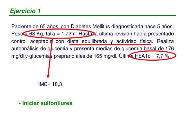 Paciente de 56 años, con DM2 de 9 años de evolución. Realiza tratamiento con dieta equilibrada y glibenclamida 10 mg/día. ...
