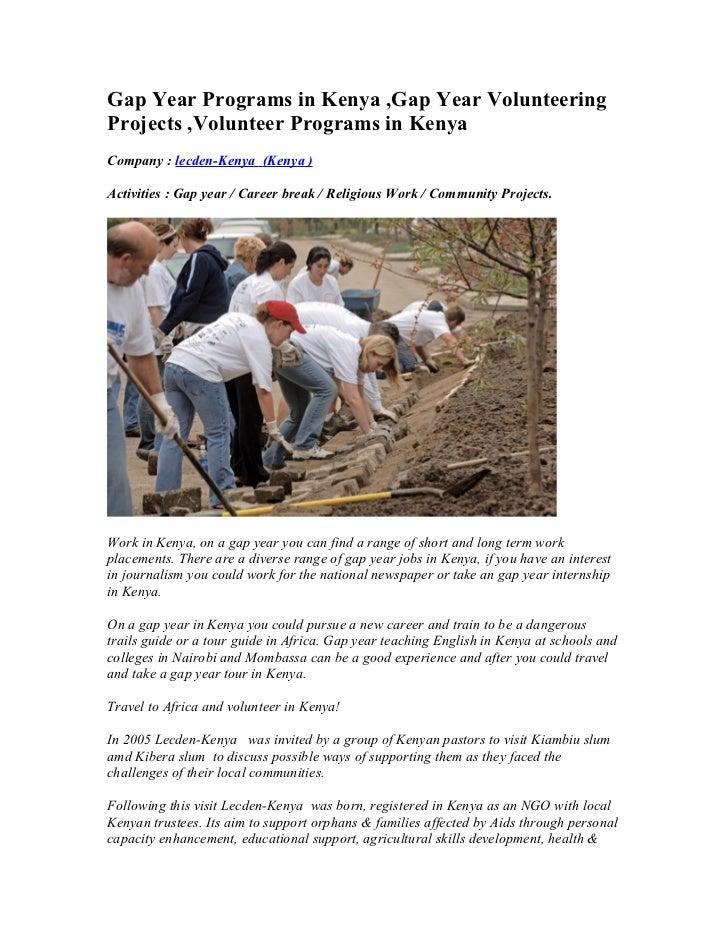 gap year programs in kenya gap year volunteering projects volunteer rh slideshare net Career Ladder Career Ladder