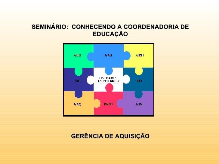 SEMINÁRIO: CONHECENDO A COORDENADORIA DE                EDUCAÇÃO         GERÊNCIA DE AQUISIÇÃO
