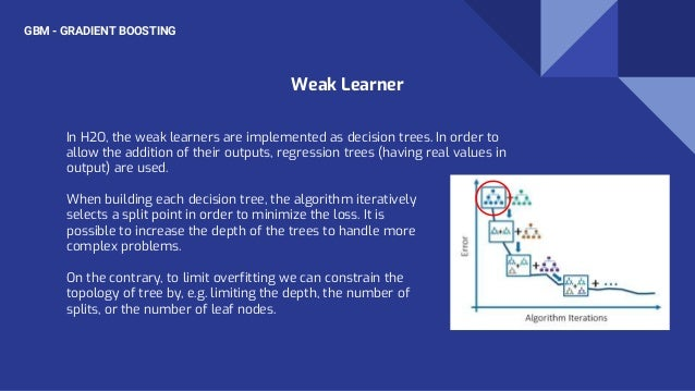 GBM - GRADIENT BOOSTING In H2O, the weak learners are implemented as decision trees. In order to allow the addition of the...