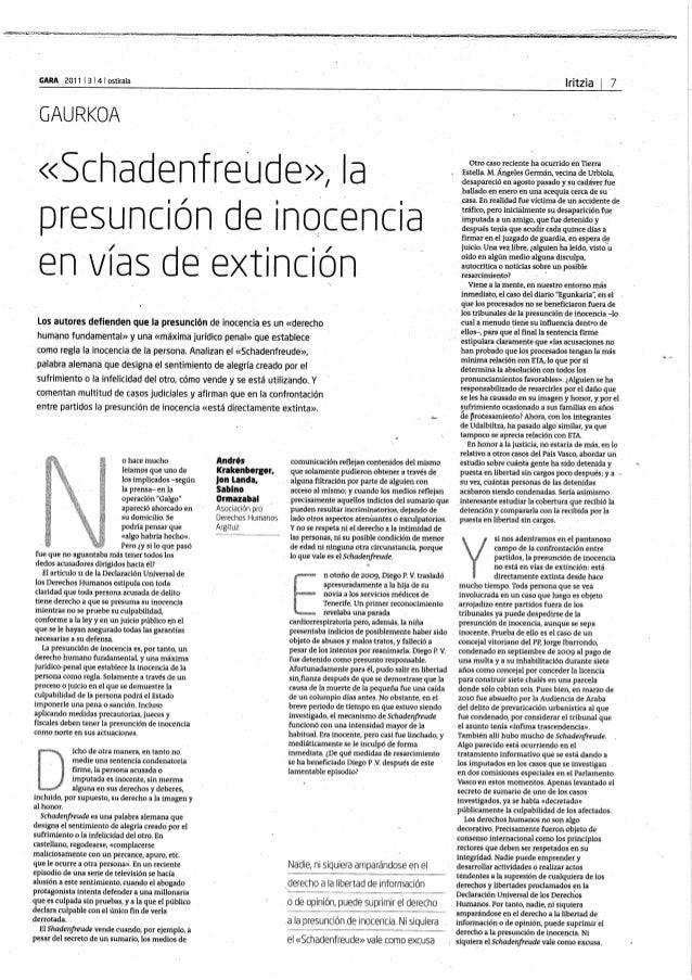 Shadenfreude: La presuncion de inocencia, en vias de extincion