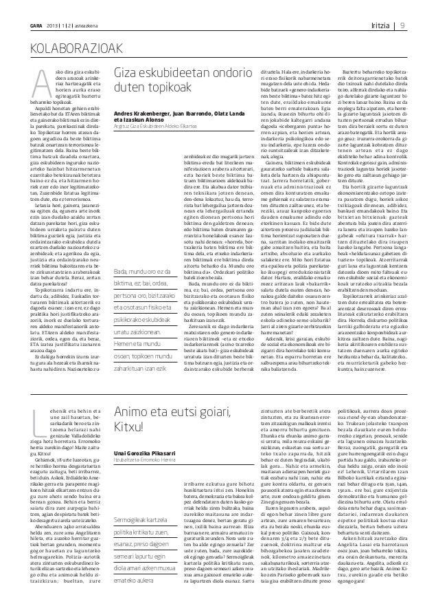 IritziaGARA 2013 1 2 asteazkena 9 KOLABORAZIOAK A sko dira giza eskubi- deen arazoak arinke- riaz hartzeagatik eta horien ...