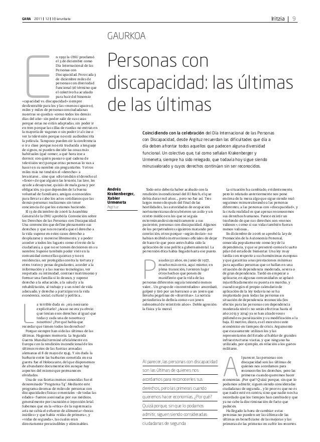 IritziaGARA 2011 12 3 larunbata 9 E n 1992 la ONU proclamó el 3 de diciembre como Día Internacional de las Personas con Di...