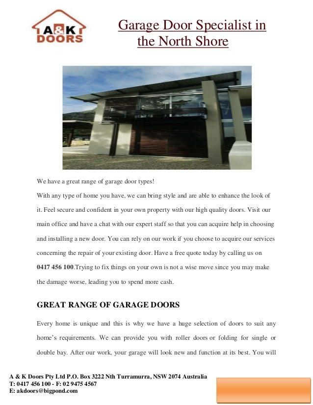 Garage Door Specialist In The North Shore A U0026 K Doors Pty Ltd P.O. Box 3222  ...