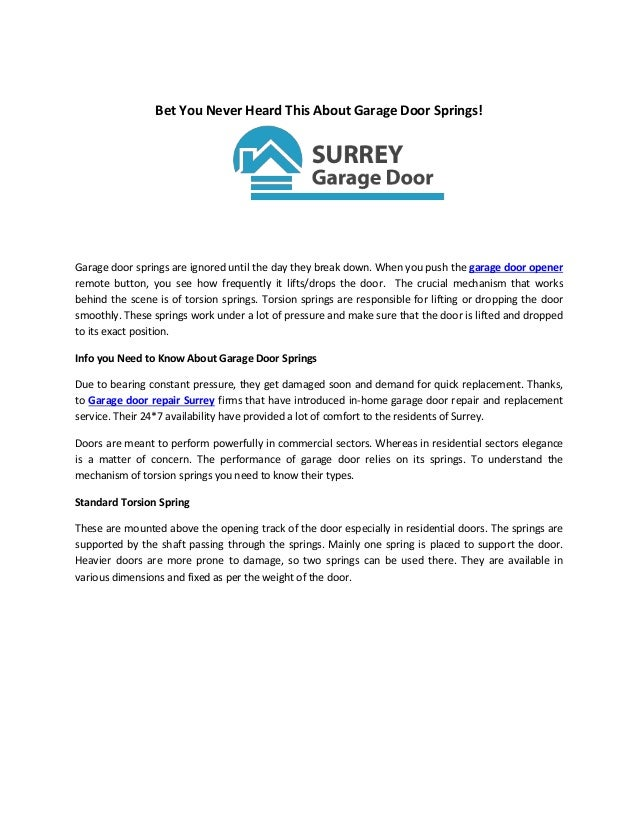 Garage Door Repair And Opener Surrey Surreygaragedoor
