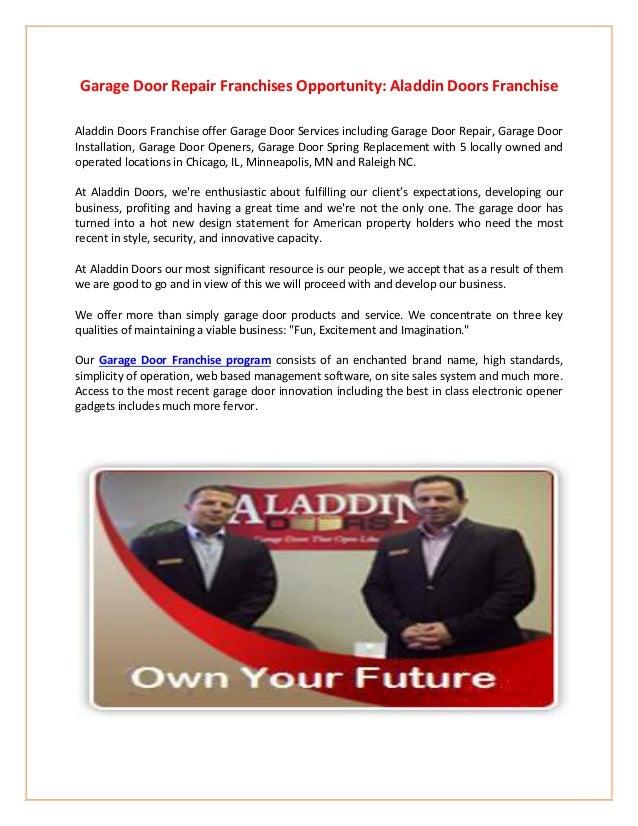 Garage Door Repair Franchise Opportunity