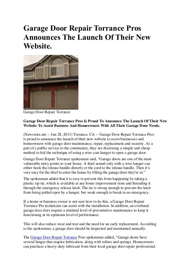 79dfde18b3e9 Garage Door Repair Torrance Pros Announces the Launch of Their New Website