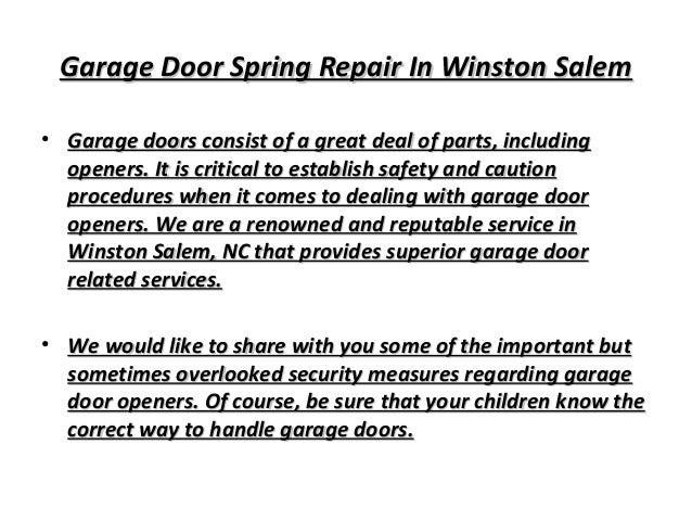 Garage door spring repair in winston salem winston salem for A 1 garage door service