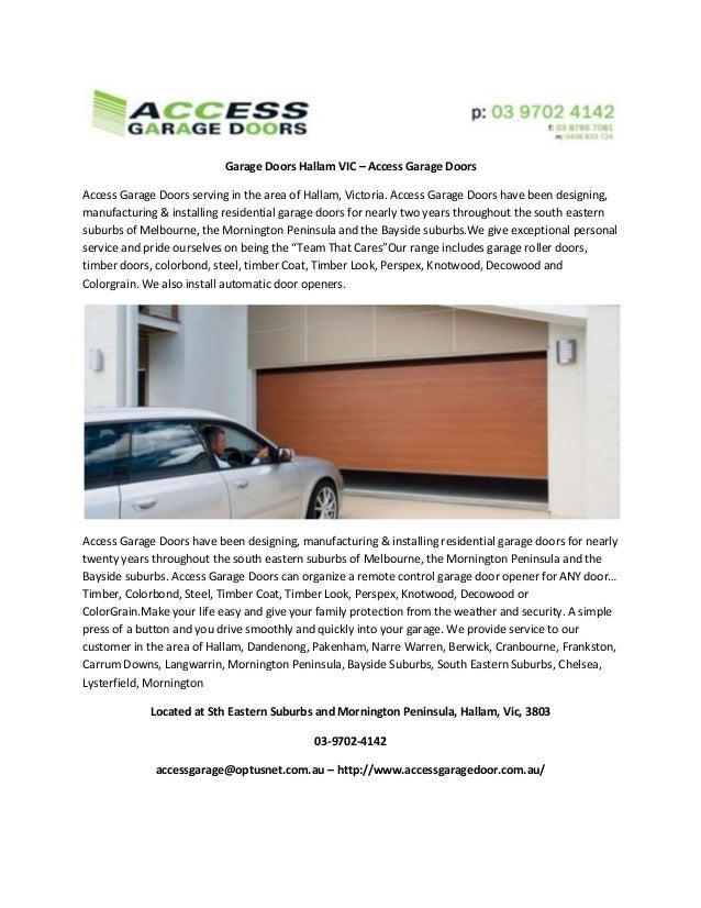 Garage Doors Hallam Vic Access Garage Doors