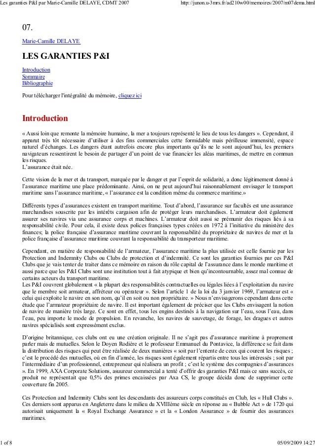 07. Marie-Camille DELAYE LES GARANTIES P&I Introduction Sommaire Bibliographie Pour télécharger l'intégralité du mémoire, ...
