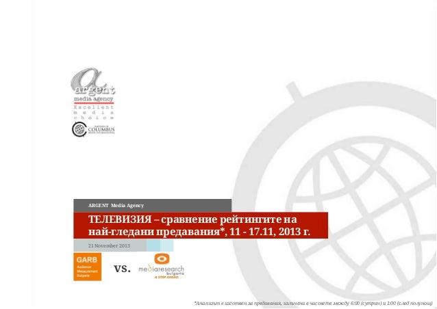 ARGENT Media Agency  ТЕЛЕВИЗИЯ – сравнение рейтингите на най-гледани предавания*, 11 - 17.11, 2013 г. 21 November 2013  vs...