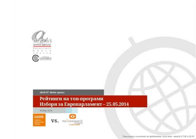 30 May 2014 ARGENT Media Agency Рейтинги на топ-програми Избори за Европарламент – 25.05.2014 *Анализът е изготвен за пред...