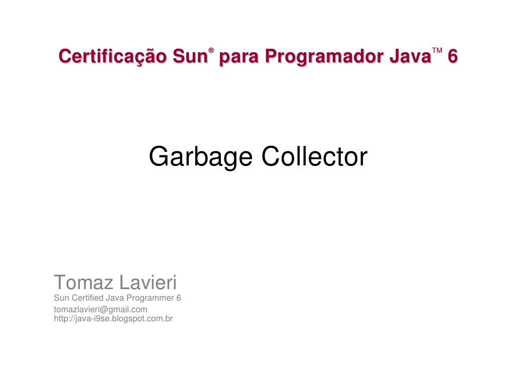 ®       TM  Certificação Sun para Programador Java 6                            Garbage Collector    Tomaz Lavieri Sun Cer...