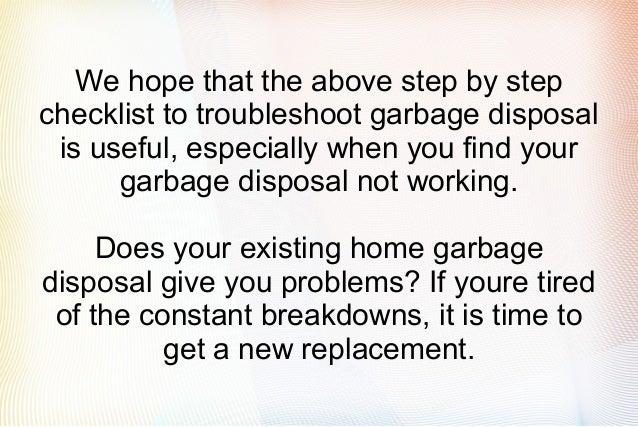 garbage disposal not working