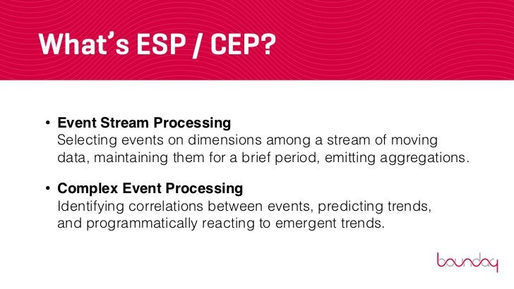 What's ESP / CEP?•   Event Stream Processing    Selecting events on dimensions among a stream of moving    data, maintaini...