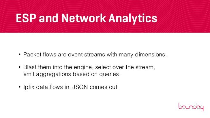 ESP and Network Analytics•   Packet flows are event streams with many dimensions.•   Blast them into the engine, select ove...