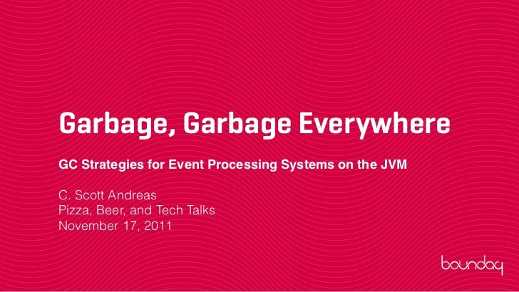 Garbage, Garbage EverywhereGC Strategies for Event Processing Systems on the JVMC. Scott AndreasPizza, Beer, and Tech Talk...