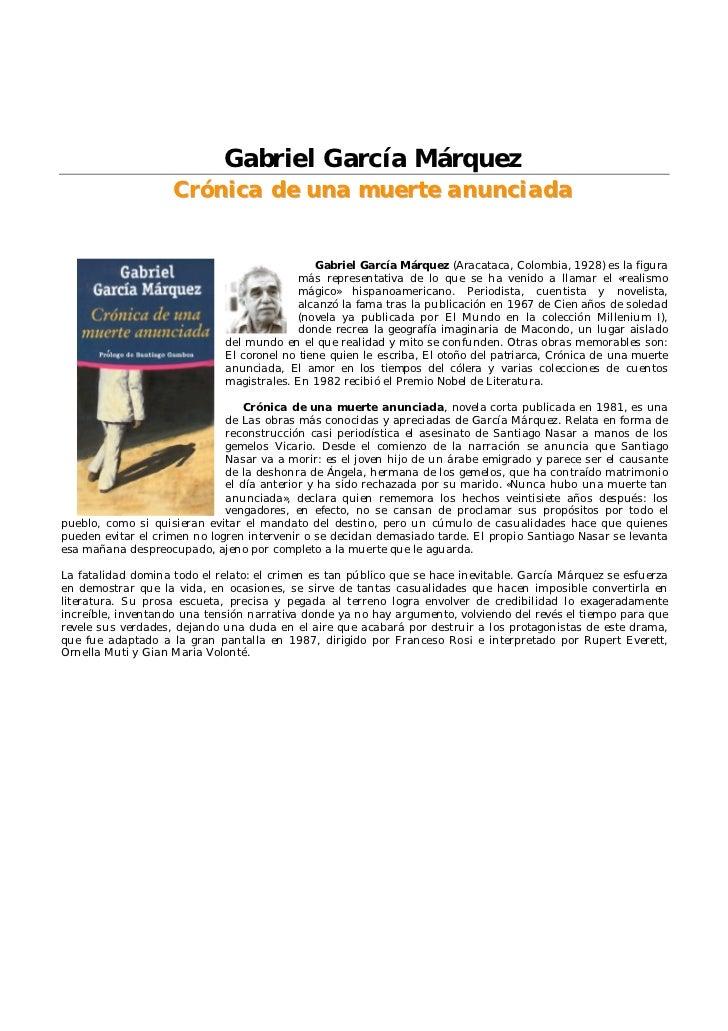 Gabriel García Márquez                    Crónica de una muerte anunciada                                               Ga...