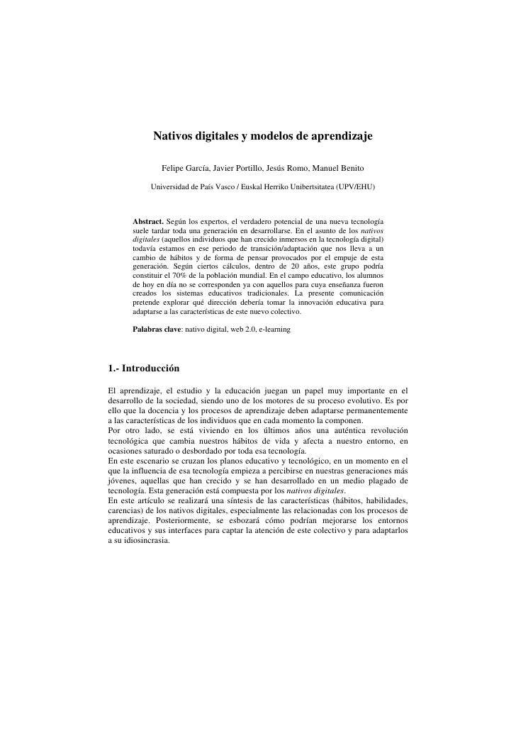 Nativos digitales y modelos de aprendizaje                Felipe García, Javier Portillo, Jesús Romo, Manuel Benito       ...