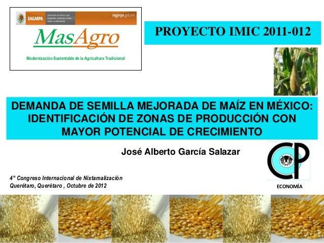 José Alberto García Salazar4° Congreso Internacional de NixtamalizaciónQuerétaro, Querétaro , Octubre de 2012DEMANDA DE SE...