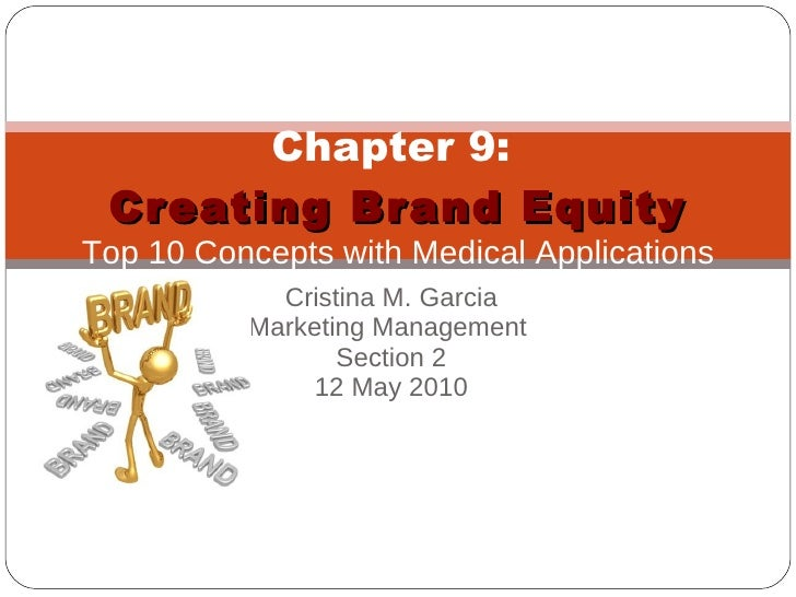Cristina M. Garcia Marketing Management  Section 2 12 May 2010 Chapter 9:  Creating Brand Equity Top 10 Concepts with Medi...
