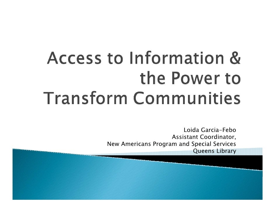 Loida Garcia-Febo                     Assistant Coordinator, New Americans Program and Special Services                   ...