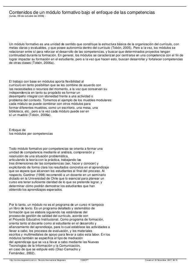 Contenidos de un módulo formativo bajo el enfoque de las competencias (lunes, 09 de octubre de 2006) - Un módulo formativo...