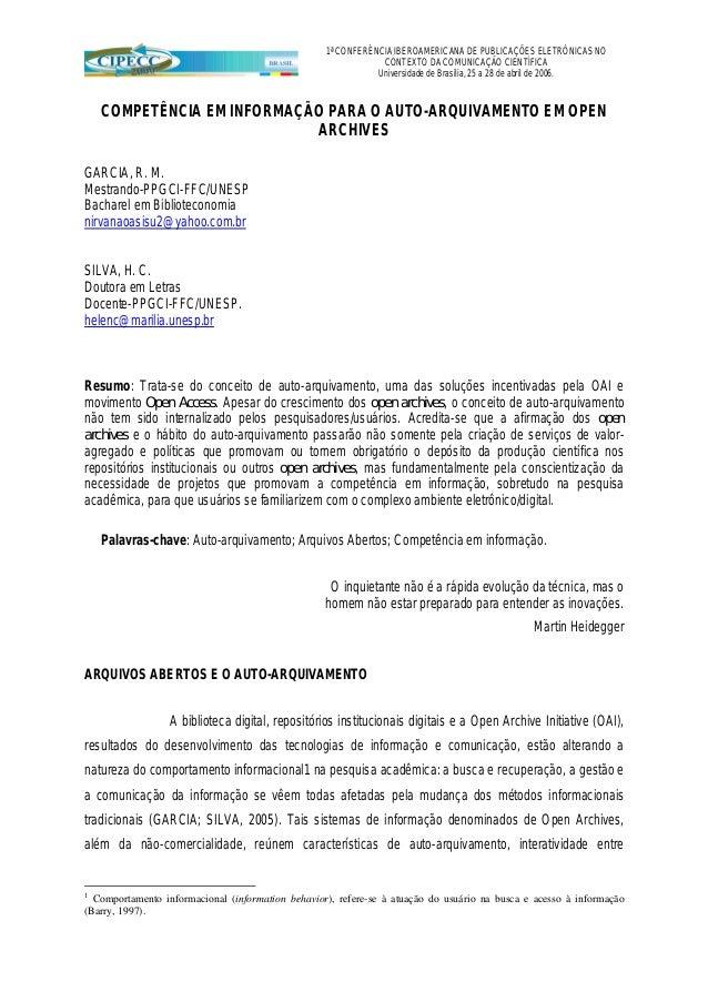 1ª CONFERÊNCIA IBEROAMERICANA DE PUBLICAÇÕES ELETRÔNICAS NO                                                               ...