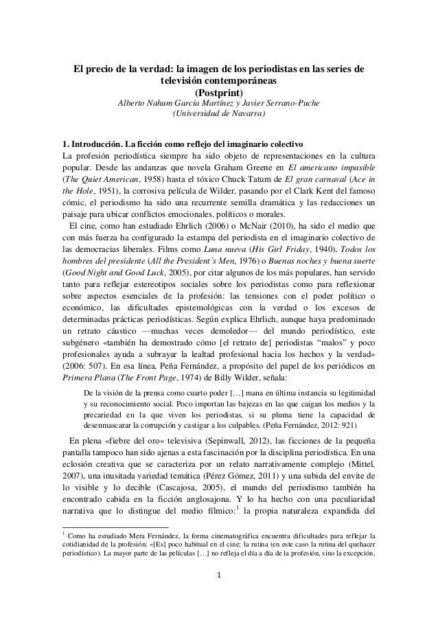 El precio de la verdad: la imagen de los periodistas en las series de televisión contemporáneas (Postprint) Alberto Nahum ...
