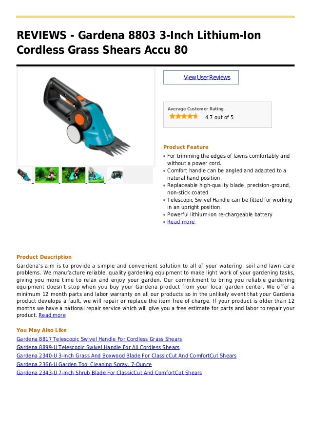 REVIEWS - Gardena 8803 3-Inch Lithium-IonCordless Grass Shears Accu 80ViewUserReviewsAverage Customer Rating4.7 out of 5Pr...