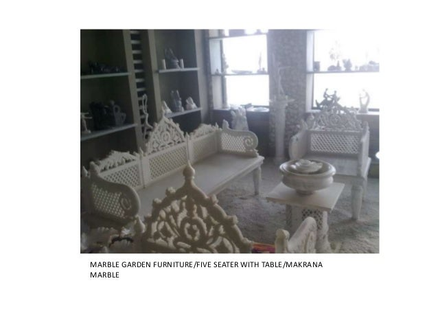 MARBLE GARDEN FURNITURE/FIVE SEATER WITH TABLE/MAKRANAMARBLE