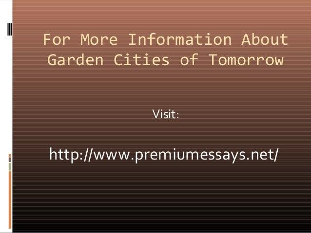 Garden Cities Of Tomorrow Review