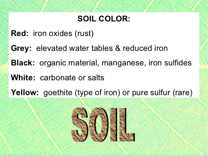 Gardening notes on soil type ph and other components of for Soil yellow color