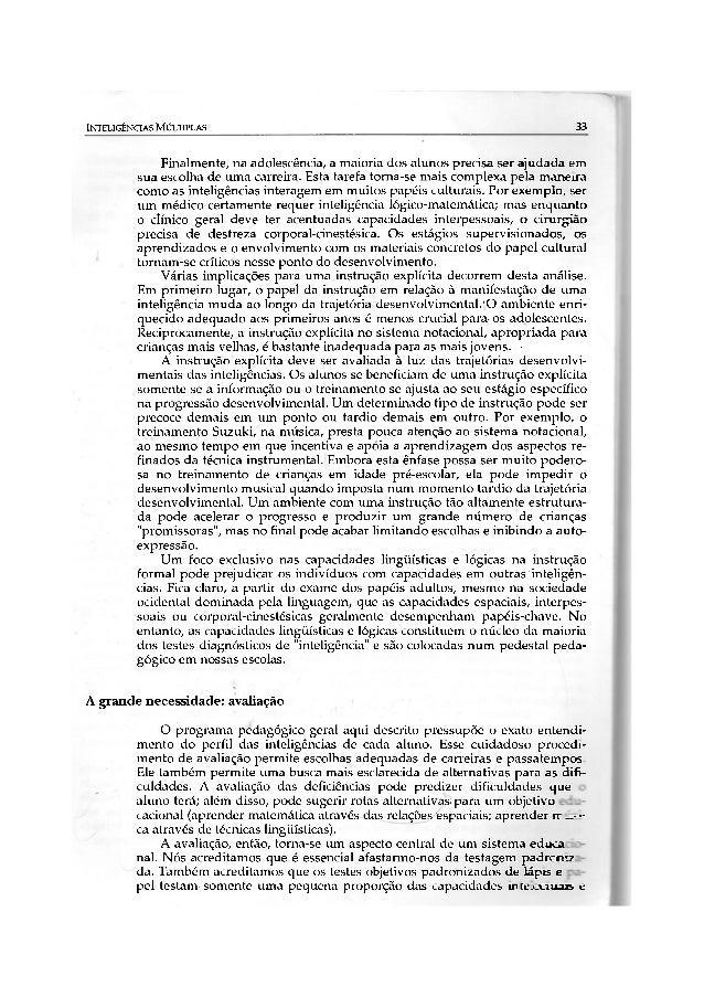 INTELIGÊNCIAS MÚLTIPLAS                                                               33              Finalmente, na adole...