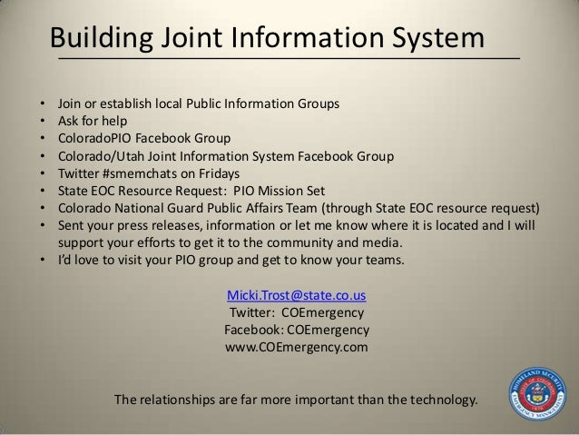 Building Joint Information System• Join