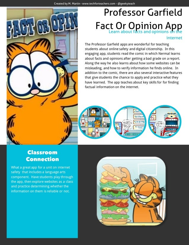 Professor Garfield Fact or Opinion App Review