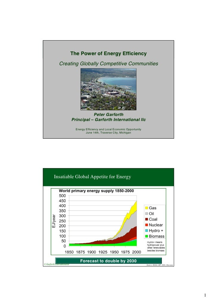 The Power of Energy Efficiency  Creating Globally Competitive Communities                   Peter Garforth        Principa...
