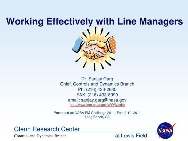 Working Effectively with Line Managers                                   Dr. Sanjay Garg                         Chief, Co...