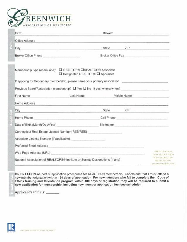 REENWICH  ASS'OClATI_ON OF REALTORS®  Firm:  Broker:   Office Address  City State ZIP Broker Office Phone Broker Office Fa...