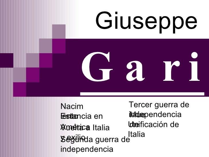 Giuseppe Garibaldi Nacimiento Estancia en América   Vuelta a Italia y exilio   Segunda guerra de independencia Tercer guer...