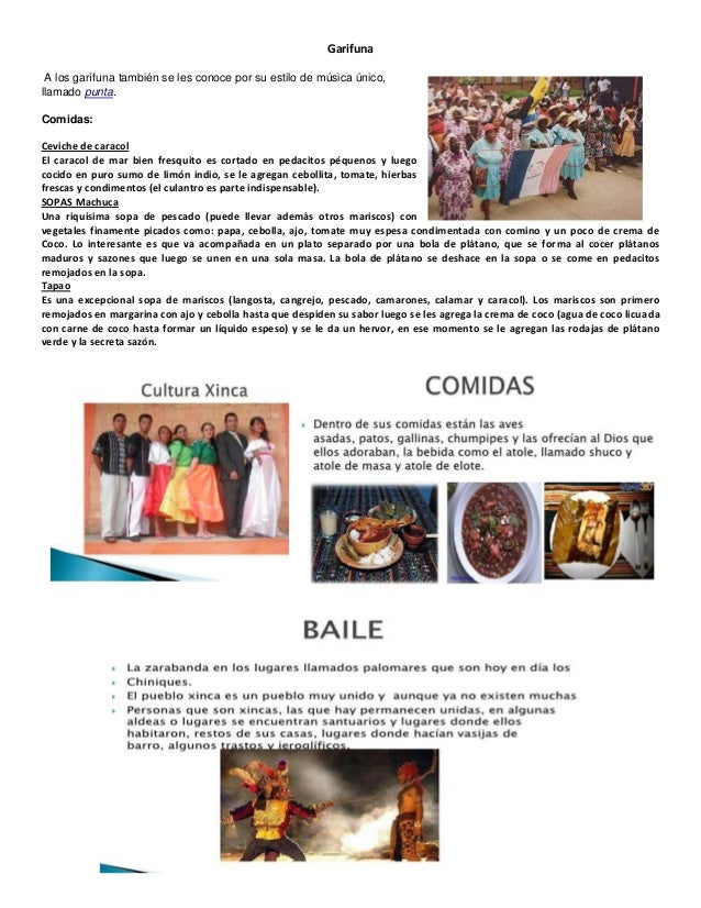 Culturas garifuna xinca ladina for Comida tradicional definicion