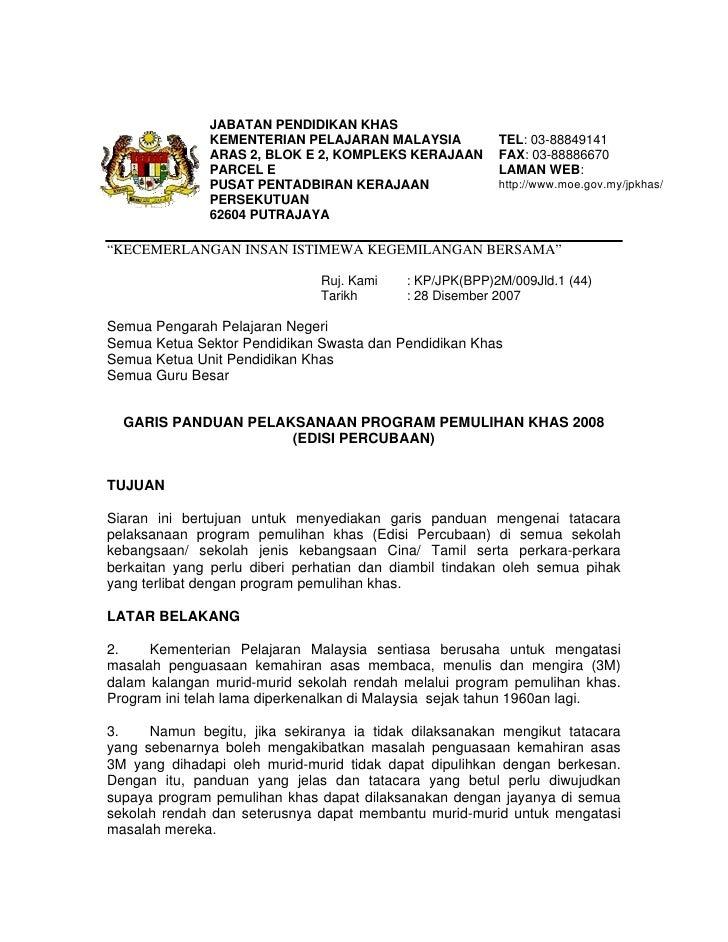 JABATAN PENDIDIKAN KHAS               KEMENTERIAN PELAJARAN MALAYSIA            TEL: 03-88849141               ARAS 2, BLO...