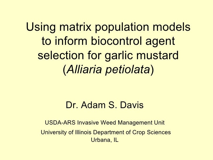 Using matrix population models to inform biocontrol agent selection for garlic mustard ( Alliaria petiolata ) Dr. Adam S. ...