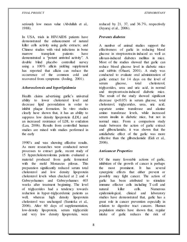 Uses of Garlic- Research Paper
