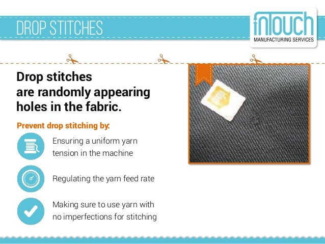 Drop stitches are randomly appearing holes in the fabric. DropStitches Ensuring a uniform yarn tension in the machine Regu...