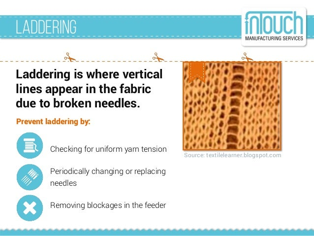 Source: textilelearner.blogspot.com Laddering Laddering is where vertical lines appear in the fabric due to broken needles...
