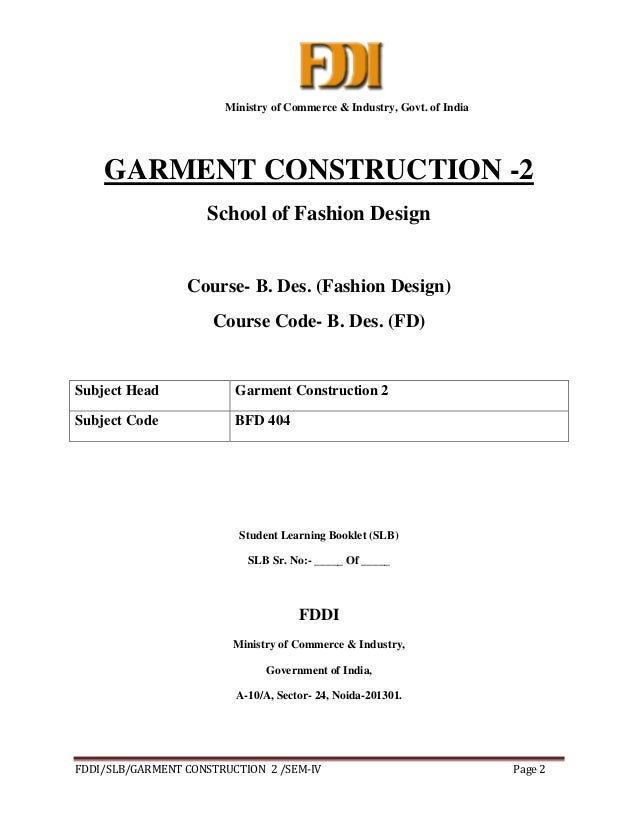 Garment Construction Study Material For Designing Student